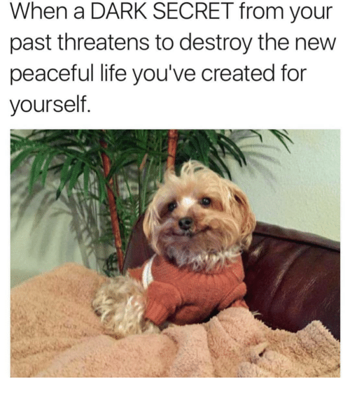 Threatens: When a DARK SECRET from your  past threatens to destroy the new  peaceful life you've created for  yourself