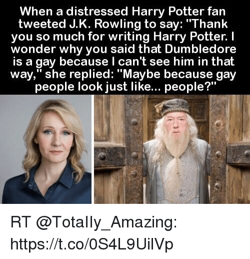 """Dumbledore, Harry Potter, and Memes: When a distressed Harry Potter fan  tweeted J.K. Rowling to say: """"Thank  you so much for writing Harry Potter. I  wonder why you said that Dumbledore  is a gay because l can't see him in that  way,"""" she replied: """"Maybe because gay  people look just like... people?' RT @TotaIIy_Amazing: https://t.co/0S4L9UilVp"""