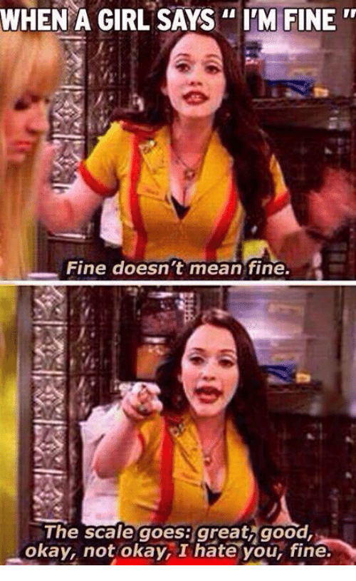WHEN a GIRL SAYS IM FINE Fine Doesnt Mean Fine the Scale