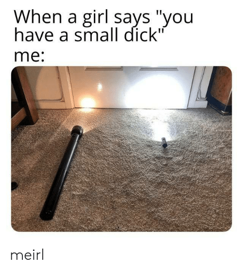 """Says You: When a girl says """"you  have a small dick""""  me: meirl"""