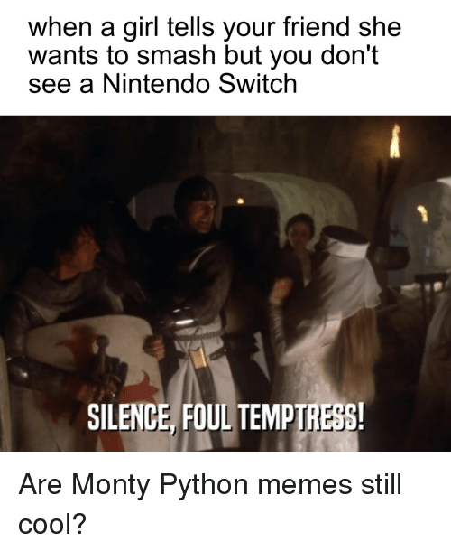 monty python: when a girl tells your friend she  wants to smash but you don't  see a Nintendo Switch  SILENCE, FOUL TEMPIRESS Are Monty Python memes still cool?