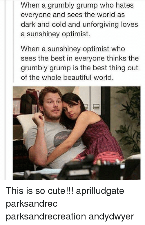 Optimisticly: When a grumbly grump who hates  everyone and sees the world as  dark and cold and unforgiving loves  a sunshiney optimist.  When a sunshiney optimist who  sees the best in everyone thinks the  grumbly grump is the best thing out  of the whole beautiful world. This is so cute!!! aprilludgate parksandrec parksandrecreation andydwyer