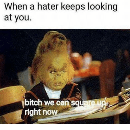 Bitch, Dank, and Looking: When a hater keeps looking  at you.  bitch we can s  tare  right now