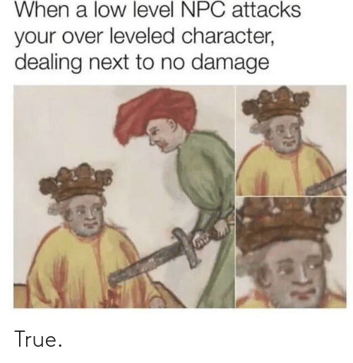 npc: When a low level NPC attacks  your over leveled character,  dealing next to no damage True.