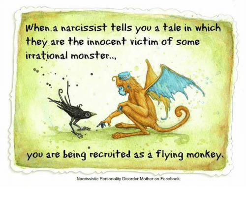 flying monkey: When a narcissist tells you a tale in which  they are the innocent victim of some  irrational monster.  you are being recruited as a flying monkey.  Narcissistic Personality Disorder Mother on Facebook