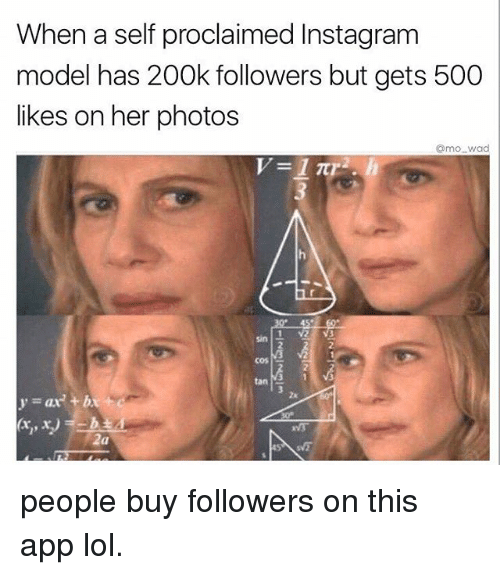 500 Likes: When a self proclaimed Instagram  model has 200k followers but gets 500  likes on her photos  amo wad  Sin  2a people buy followers on this app lol.