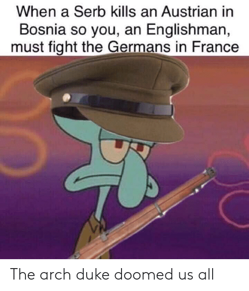 Austrian: When a Serb kills an Austrian in  Bosnia so you, an Englishman,  must fight the Germans in France The arch duke doomed us all​
