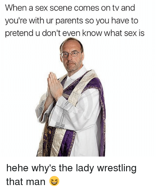 Memes, Parents, and Sex: When a sex scene comes on tv and  you're with ur parents so you have to  pretend u don't even know what sex is hehe why's the lady wrestling that man 😆