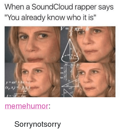 """SoundCloud, Tumblr, and Blog: When a SoundCloud rapper says  """"You already know who it is""""  tan  2e  x,x. <p><a href=""""http://memehumor.net/post/171958713690/sorrynotsorry"""" class=""""tumblr_blog"""">memehumor</a>:</p>  <blockquote><p>Sorrynotsorry</p></blockquote>"""