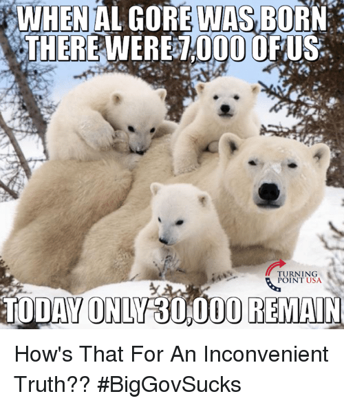 Al Gore: WHEN AL GORE WAS BORN  0000  US  TURNING  POINT USA  TODAY ONLY 30,000 REMAIN How's That For An Inconvenient Truth?? #BigGovSucks