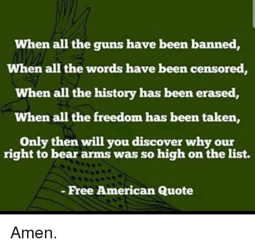 Guns, Memes, and Taken: When all the guns have been banned,  When all the words have been censored  When all the history has been erased,  When all the freedom has been taken,  Only then will you discover w  hy our  right to bear arms was so high on the list.  Free American Quote Amen.