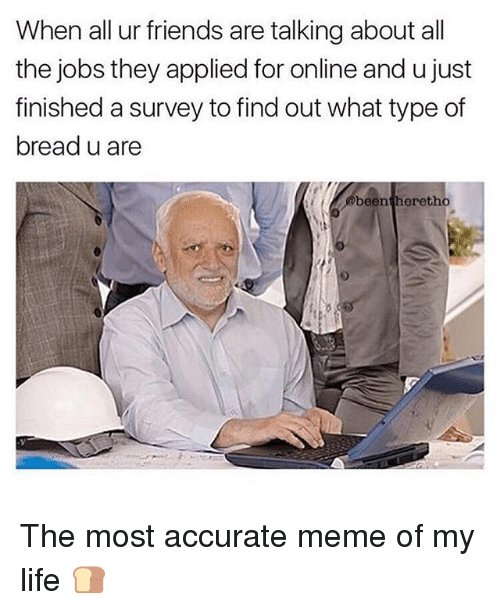Friends, Life, and Meme: When all ur friends are talking about all  the jobs they applied for online and u just  finished a survey to find out what type of  bread u are  beentheretho The most accurate meme of my life 🍞