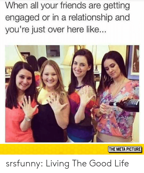 Living The Good Life: When all your friends are getting  engaged or in a relationship and  you're just over here like...  THE META PICTURE srsfunny:  Living The Good Life
