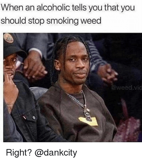 Stop Smoking: When an alcoholic tells you that you  should stop smoking weed  @weed.vic Right? @dankcity