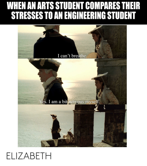 I Cant Breathe: WHEN AN ARTS STUDENT COMPARES THEIR  STRESSES TO AN ENGINEERING STUDENT  I can't breathe.  Yes. I am a bit nervous myself. ELIZABETH