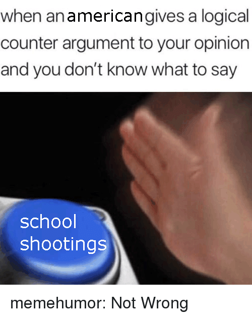 Dont Know What To Say: when anamericangives a logical  counter argument to your opinion  and you don't know what to say  school  shootings memehumor:  Not Wrong
