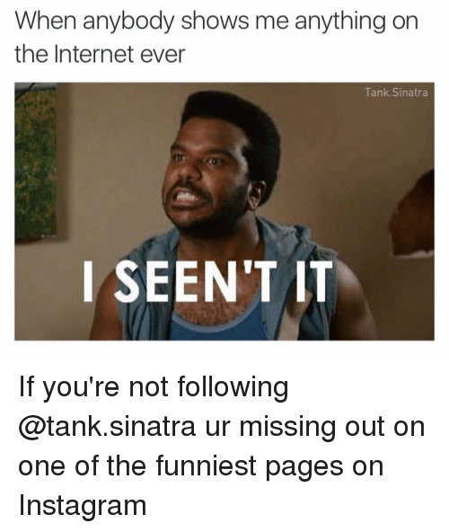 The Funniest Memes On The Internet : When anybody shows me anything on the internet ever tank