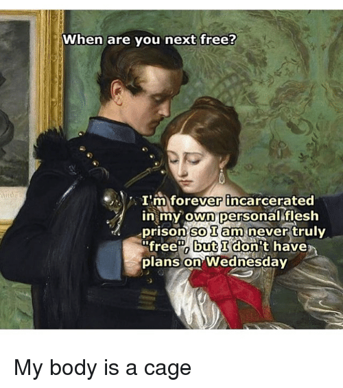 Bodies , Memes, and Prison: When are you next free?  I'm forever incarcerated  in my own personal flesh  prison so am never  free but I don't have  plans on Wednesday My body is a cage