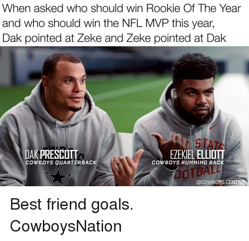 Memes, Cowboy, and 🤖: When asked who should win Rookie Of The Year  and who should win the NFL MVP this year,  ak pointed at Zeke and Zeke pointed at Dak  ST  DAK PRESCOTT  EZEKIEL ELLIOTT  COWBOYS QUARTERBACK  COWBOYS RUNNING BACK  (acowBoYS CENTRAL Best friend goals. CowboysNation