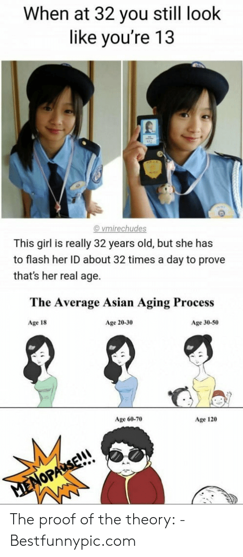 Bestfunnypic: When at 32 you still look  like you're 13  vmirechudes  This girl is really 32 years old, but she has  to flash her ID about 32 times a day to prove  that's her real age.  The Average Asian Aging Process  Age 18  Age 20-30  Age 30-50  Age 60-70  Age 120  MENOPAUSE!!! The proof of the theory: - Bestfunnypic.com