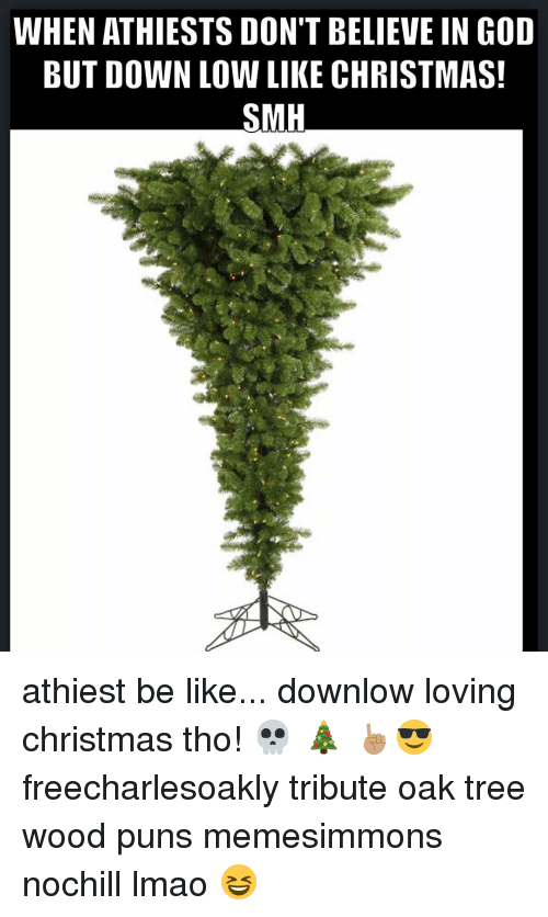 Wood Puns: WHEN ATHIESTS DON'T BELIEVE IN GOD  BUT DOWN LOW LIKE CHRISTMAS!  SMH athiest be like... downlow loving christmas tho! 💀 🎄 ☝🏽️😎 freecharlesoakly tribute oak tree wood puns memesimmons nochill lmao 😆
