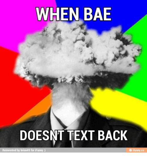 When Bae Doesnt Text Back: WHEN BAE  DOESNT TEXT BACK  Reinvented by brion49 for iFunny  ifunny.co