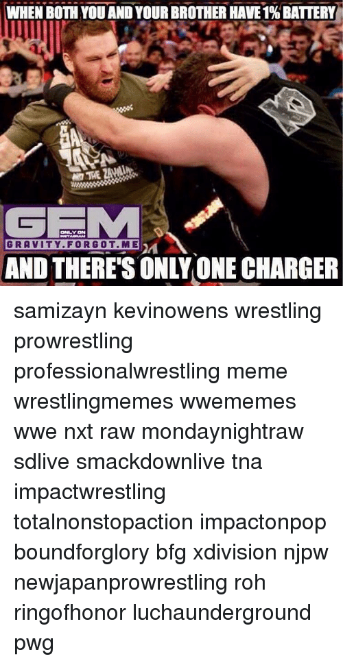 roh: WHEN BOTH YOU AND YOUR BROTHER HAVE1%BATTERY  GEMMA  GRAVITY FOR GOT ME  AND THERES ONLY ONE CHARGER samizayn kevinowens wrestling prowrestling professionalwrestling meme wrestlingmemes wwememes wwe nxt raw mondaynightraw sdlive smackdownlive tna impactwrestling totalnonstopaction impactonpop boundforglory bfg xdivision njpw newjapanprowrestling roh ringofhonor luchaunderground pwg