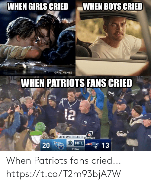 playoffs: WHEN BOYS CRIED  WHEN GIRLS CRIED  @NFL_MEMES  WHEN PATRIOTS FANS CRIED  12  AFC WILD CARD  PLAYOFFS  NE DIA  13  NFL  13  T)  FINAL  20 When Patriots fans cried... https://t.co/T2m93bjA7W