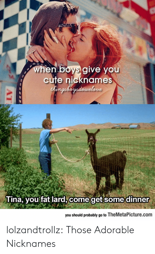 nicknames: when boys give you  cute nicknames  Chenguberdawelone  Tina, you fat lard, come getsome dinner  you should probably go to TheMetaPicture.com  AT lolzandtrollz:  Those Adorable Nicknames