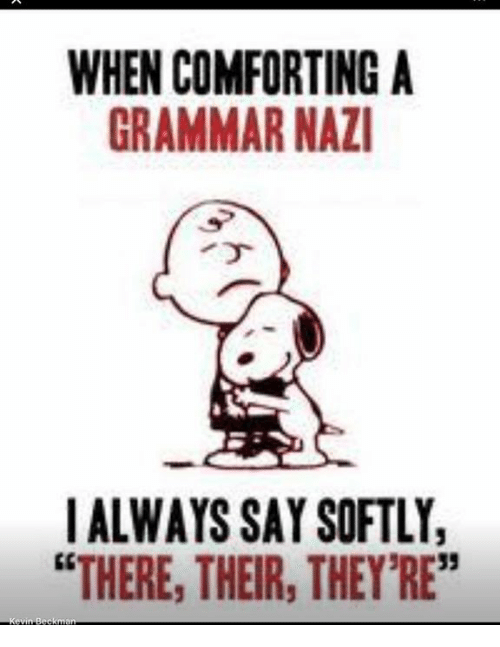 """Grammar Nazis: WHEN COMFORTING A  GRAMMAR NAZI  I ALWAYS SAY SOFTLY,  """"THERE, THEIR, THEY'RE"""""""
