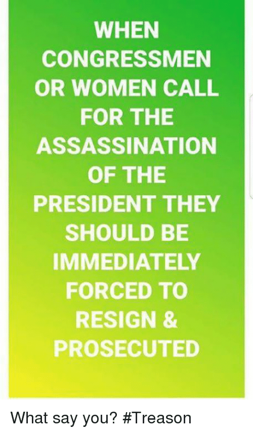 What Say You: WHEN  CONGRESSMEN  OR WOMEN CALL  FOR THE  ASSASSINATION  OF THE  PRESIDENT THEY  SHOULD BE  IMMEDIATELY  FORCED TO  RESIGN &  PROSECUTED What say you? #Treason