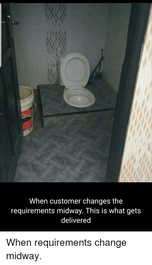 midway: When customer changes the  requirements midway. This is what gets  deliveredd When requirements change midway.