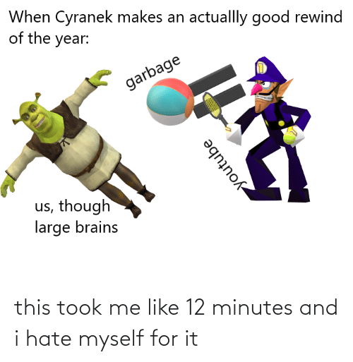 Cyranek: When Cyranek makes an actuallly good rewind  of the year:  garbage  us, though  large brains  youtube this took me like 12 minutes and i hate myself for it