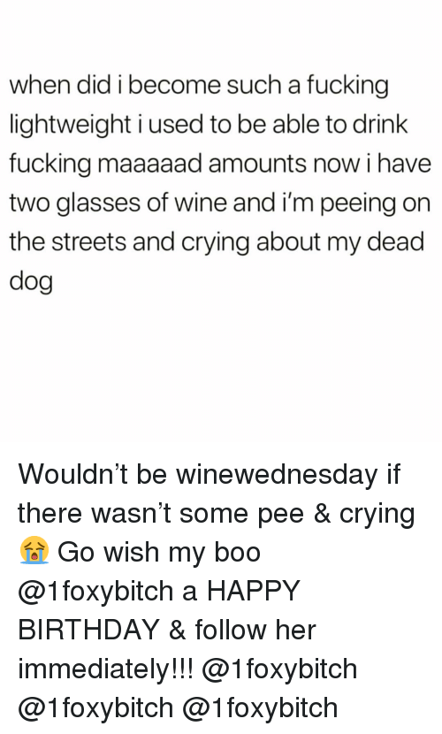 Birthday, Boo, and Crying: when did i become such a fucking  lightweight i used to be able to drink  fucking maaaaad amounts now i have  two glasses of wine and i'm peeing on  the streets and crying about my dead  dog Wouldn't be winewednesday if there wasn't some pee & crying😭 Go wish my boo @1foxybitch a HAPPY BIRTHDAY & follow her immediately!!! @1foxybitch @1foxybitch @1foxybitch