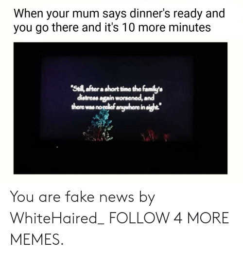 """You Are Fake News: When  dinner's ready and  your mum says  you go there and it's 10 more minutes  """"Seill after a short time the family's  distress again worsened, and  there was norelief anywhere in sight. You are fake news by WhiteHaired_ FOLLOW 4 MORE MEMES."""