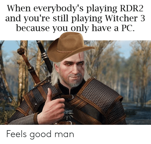 Rdr2: When everybody's playing RDR2  and you're still playing Witcher 3  because you only have a PC. Feels good man