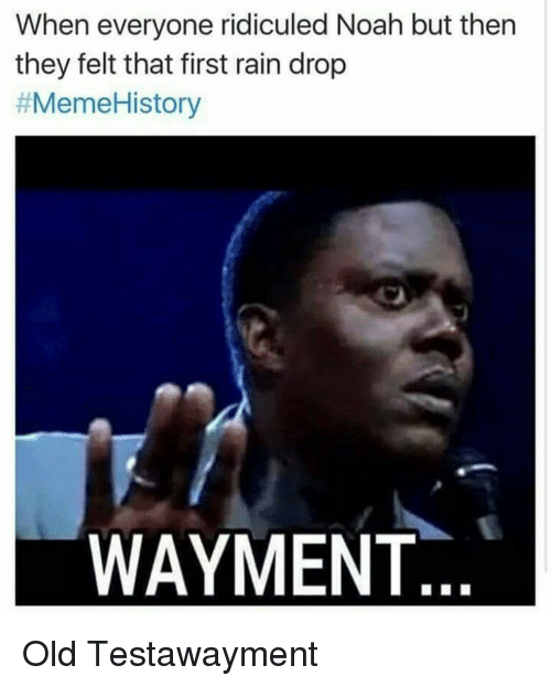 Meme, Memes, and Meme History : When everyone ridiculed Noah but then  they felt that first rain drop  #Meme History  WAYMENT Old Testawayment