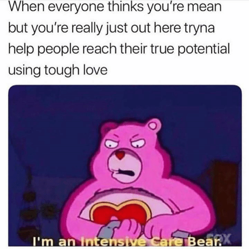 Intensive: When everyone thinks you're mean  but you're really just out here tryna  help people reach their true potential  using tough love  I'm an Intensive Care Bear