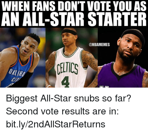 Dont Vote: WHEN FANS DON'T VOTE YOU AS  AN ALL-STAR STARTER  @NBAMEMES  CELTICS Biggest All-Star snubs so far?  Second vote results are in: bit.ly/2ndAllStarReturns