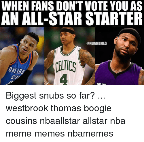 All Star, Celtic, and Memes: WHEN FANS DON'TVOTE YOU AS  N ALL-STAR STARTER  @NBAMEMES  CELTICS Biggest snubs so far? ... westbrook thomas boogie cousins nbaallstar allstar nba meme memes nbamemes