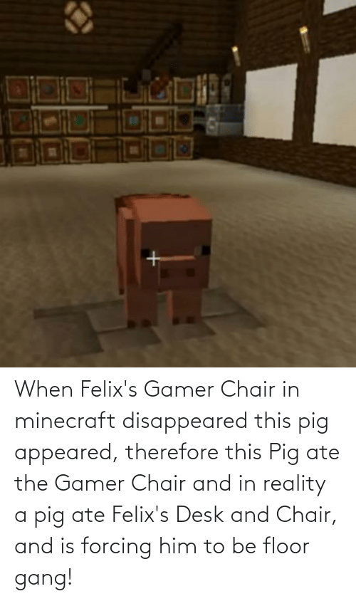 disappeared: When Felix's Gamer Chair in minecraft disappeared this pig appeared, therefore this Pig ate the Gamer Chair and in reality a pig ate Felix's Desk and Chair, and is forcing him to be floor gang!