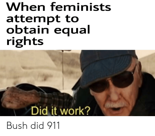 bush did 911: When feminists  attempt to  obtain equal  rights  Did it work? Bush did 911