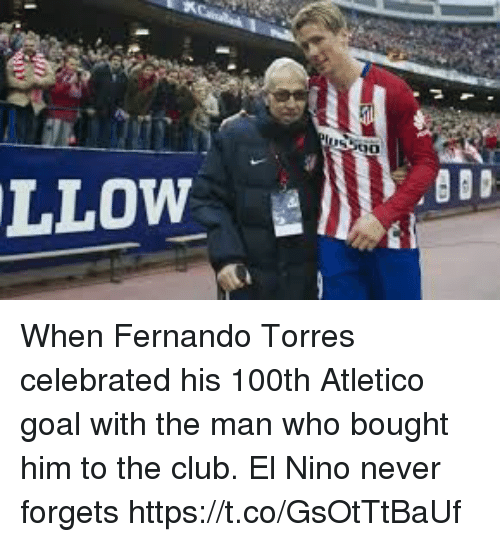 Fernando Torres: When Fernando Torres celebrated his 100th Atletico goal with the man who bought him to the club.   El Nino never forgets https://t.co/GsOtTtBaUf