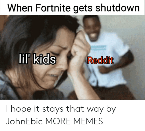 Shutdown: When Fortnite gets shutdown  lil kids  Reddit I hope it stays that way by JohnEbic MORE MEMES