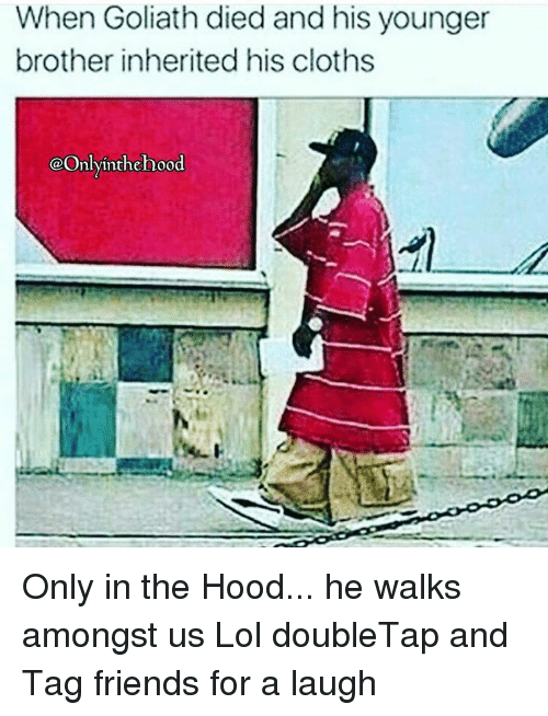 Clothes, Lol, and Memes: When Goliath died and his younger  brother inherited his cloths  @Only inthe hood Only in the Hood... he walks amongst us Lol doubleTap and Tag friends for a laugh