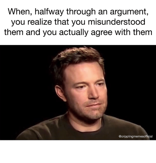 Memes, 🤖, and Them: When, halfway through an argument  you realize that you misunderstood  them and you actually agree with thenm  @cripplingmemesofficial