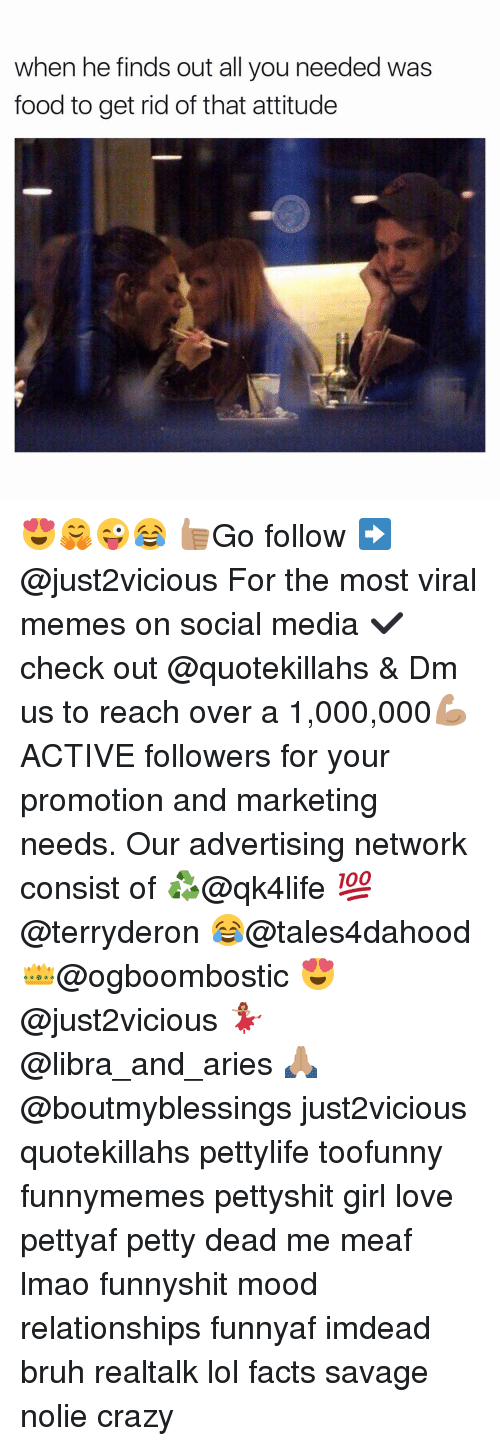 Advertise Network: when he finds out all you needed was  food to get rid of that attitude 😍🤗😜😂 👍🏽Go follow ➡@just2vicious For the most viral memes on social media ✔check out @quotekillahs & Dm us to reach over a 1,000,000💪🏽ACTIVE followers for your promotion and marketing needs. Our advertising network consist of ♻@qk4life 💯@terryderon 😂@tales4dahood 👑@ogboombostic 😍@just2vicious 💃🏽@libra_and_aries 🙏🏽@boutmyblessings just2vicious quotekillahs pettylife toofunny funnymemes pettyshit girl love pettyaf petty dead me meaf lmao funnyshit mood relationships funnyaf imdead bruh realtalk lol facts savage nolie crazy