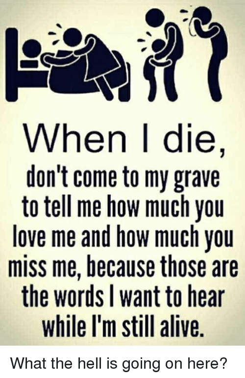 What The Hell Is Going On Here: When I die,  don't come to my grave  to tell me how much you  love me and how much you  miss me, because those are  the words l want to hear  while l'm still alive. What the hell is going on here?
