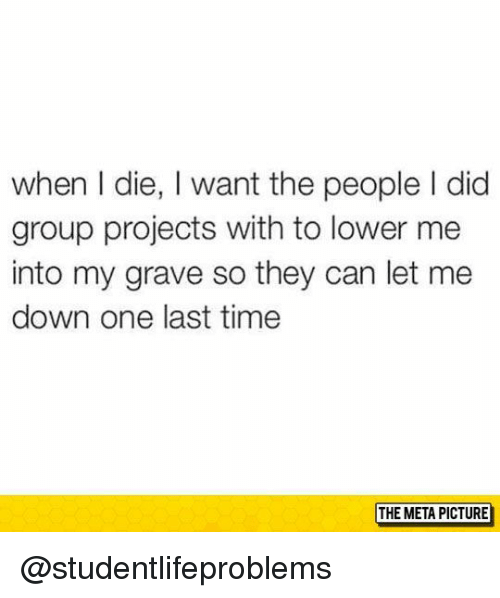Group Projects: when I die, I want the people I did  group projects with to lower me  into my grave so they can let me  down one last time  THE META PICTURE @studentlifeproblems
