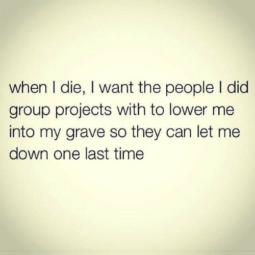 Group Projects: when I die, I want the people I did  group projects with to lower me  into my grave so they can let me  down one last time